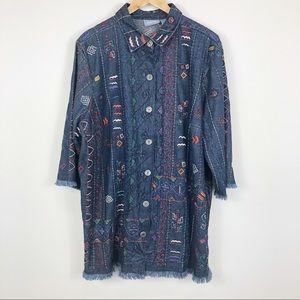 Liz & Me Denim Embroider Top/Jacket Frayed Hem 1X